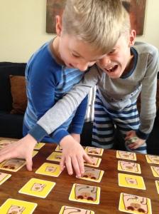 The Firestone boys scrambling for cards!